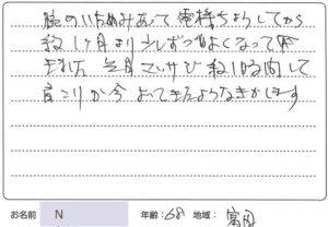 富田町のNさんからのメッセージ